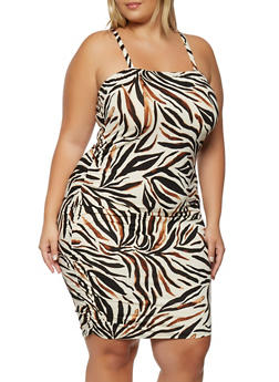 Plus Size Printed Ruched Side Bodycon Dress - 0390056120979