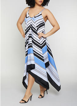 Plus Size Chevron Trapeze Dress - 0390056121458