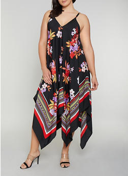 Plus Size Floral Border Print Trapeze Dress - 0390056121509