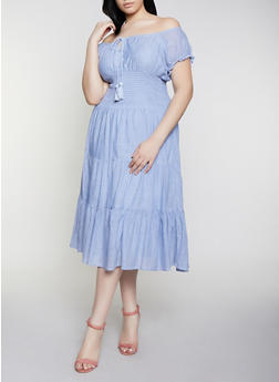 Plus Size Smocked Off the Shoulder Peasant Dress - 0390056121539