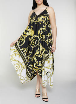 Plus Size Status Print Sharkbite Maxi Dress - 0390056121547