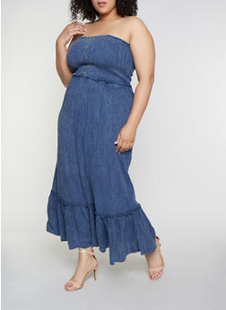 Plus Size Off the Shoulder Denim Maxi Dress - 0390056121564
