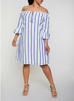 Plus Size Vertical Stripe Off the Shoulder Shift Dress - 0390056121573