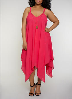 Plus Size Asymmetrical Shift Dress with Necklace - 0390056121577