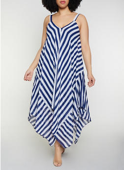 Plus Size Striped Sleeveless Sharkbite Dress - 0390056121680