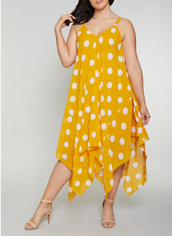Plus Size Polka Dot Trapeze Dress - 0390056121681