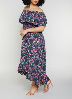 Plus Size Ruffled Off the Shoulder Floral Leaf Maxi Dress - 0390056121711