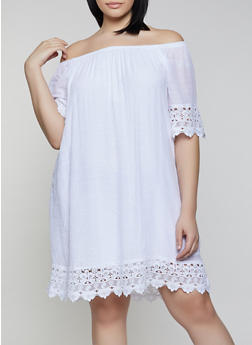 Plus Size Off the Shoulder Gauze Knit Shift Dress - 0390056121728