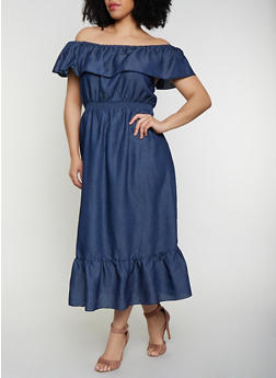 Plus Size Denim Off the Shoulder Maxi Dress - 0390056121744