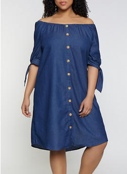 Plus Size Faux Button Chambray Dress - 0390056121787