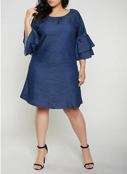 bf1fa78d65 Plus Size Cut Out Sleeve Chambray Dress - 0390056121788