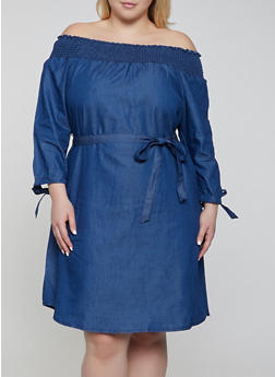 Plus Size Denim Off the Shoulder Midi Dress - 0390056121794
