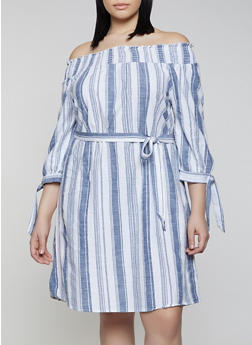 Plus Size Tie Sleeve Off the Shoulder Striped Dress - 0390056121795