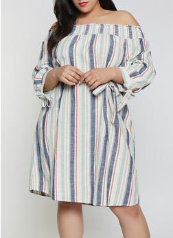 Plus Size Striped Linen Off the Shoulder Shift Dress - 0390056121796