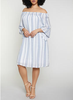 Plus Size Smocked Neck Striped Dress - 0390056121841