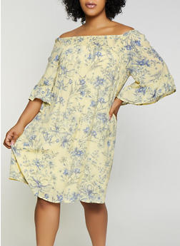 Plus Size Smocked Floral Off the Shoulder Dress - 0390056121842