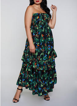 Plus Size Ruffle Hem Floral Maxi Dress - 0390056121868