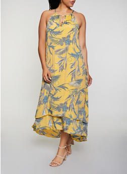 Plus Size Tropical Print Tiered Maxi Dress - 0390056121874