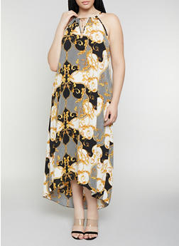 Plus Size Crepe Knit Status Print Maxi Dress - 0390056121896