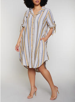 Plus Size Striped Tie Sleeve Shirt Dress - 0390056121918