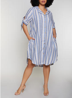 Plus Size Tie Sleeve Striped Shirt Dress - 0390056121919