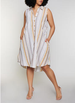 Plus Size Striped Sleeveless Shirt Dress - 0390056121920