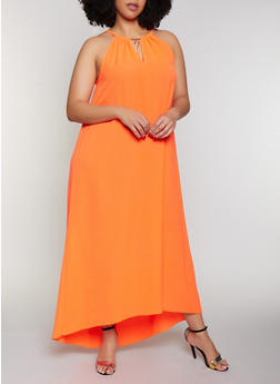Plus Size Neon Crepe Knit Maxi Dress - 0390056121925
