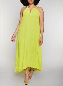 Plus Size Neon Sleeveless Metallic Keyhole Maxi Dress - 0390056121926