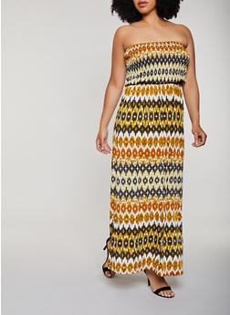 Plus Size Printed Smocked Maxi Dress - 0390056121937