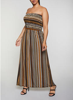 Plus Size Printed Strapless Maxi Dress - 0390056121938