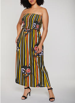 Plus Size Floral Striped Smocked Maxi Dress - 0390056121939