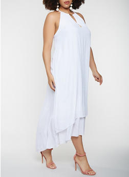Plus Size Metallic Detail Tank Maxi Dress - WHITE - 0390056122024