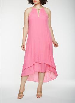 Plus Size Metallic Detail Tank Maxi Dress - 0390056122024