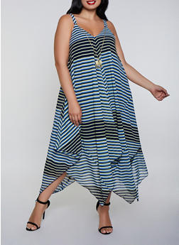 Plus Size Asymmetrical Striped Dress with Necklace - 0390056122034