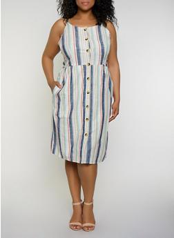 Plus Size Striped Linen Button Front Cami Dress - 0390056122036