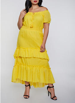 Plus Size Tiered Off the Shoulder Peasant Dress - 0390056122039