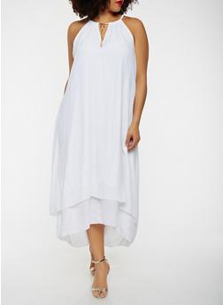 Plus Size Metallic Tassel Neck Maxi Dress - 0390056123024