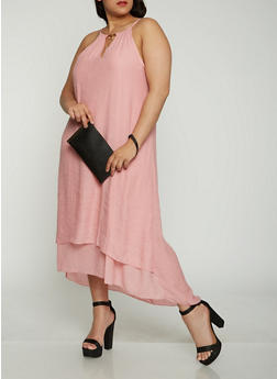 Plus Size Metallic Tassel Neck Maxi Dress - 0390056123024