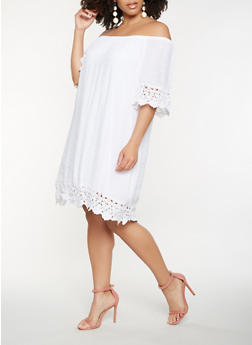 Plus Size Off the Shoulder Crochet Trim Dress - WHITE - 0390056123467