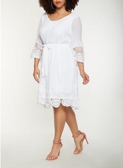 Plus Size Gauze Knit Shift Dress - 0390056123549