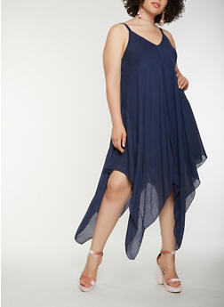 Plus Size Asymmetrical Midi Dress - 0390056124505