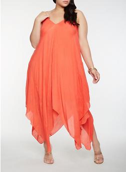 Plus Size Asymmetrical Midi Dress - 0390056124505