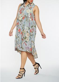 Plus Size Striped Floral Shirt Dress - 0390056125370