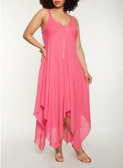 Plus Size Asymmetrical Maxi Dress with Necklace - 0390056125613