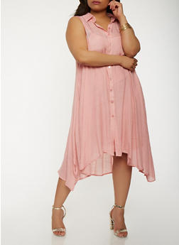 Plus Size Trapeze Shirt Dress - 0390056125669