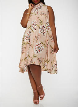 Plus Size Floral Shirt Dress - 0390056125674