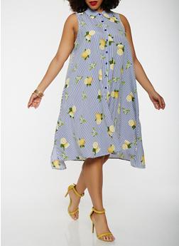 Plus Size Printed Shirt Dress - 0390056125676
