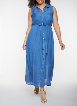 Plus Size Button Front Maxi Dress - 0390056125757