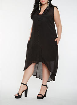 Plus Size Button Front High Low Dress - 0390056125758