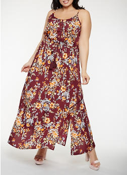 Plus Size Floral Maxi Dress - 0390056125777